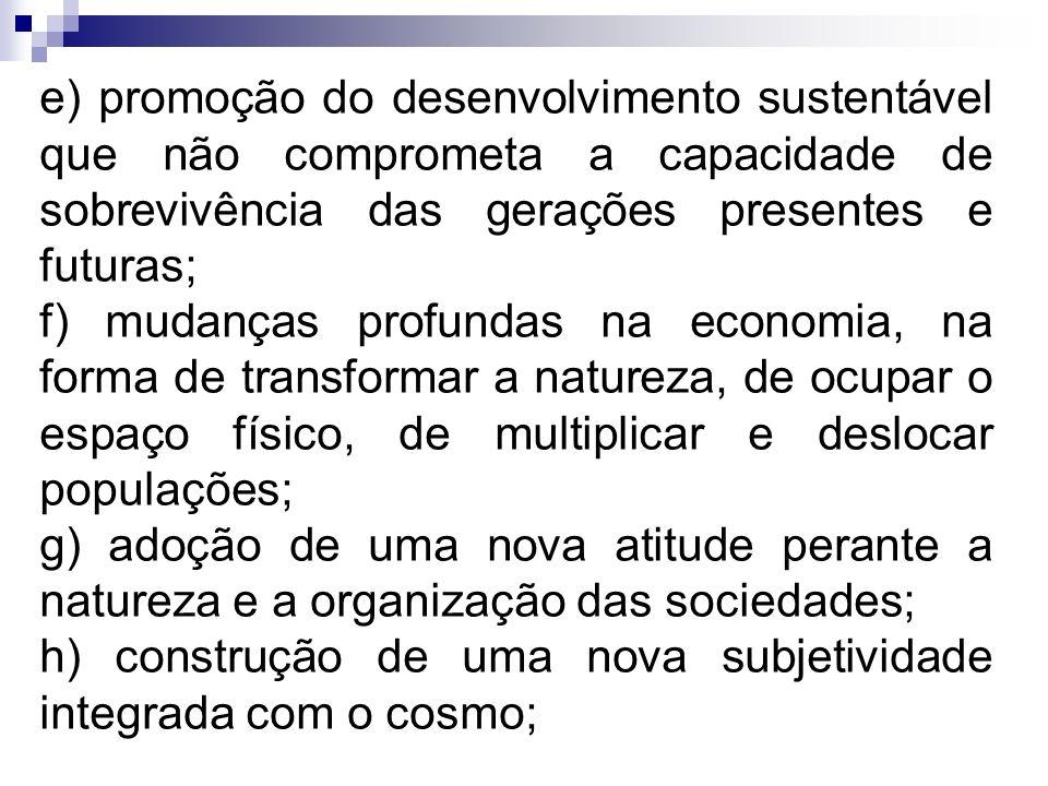 e) promoção do desenvolvimento sustentável que não comprometa a capacidade de sobrevivência das gerações presentes e futuras;