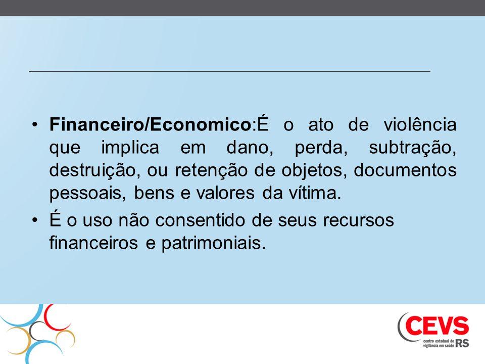 Financeiro/Economico:É o ato de violência que implica em dano, perda, subtração, destruição, ou retenção de objetos, documentos pessoais, bens e valores da vítima.