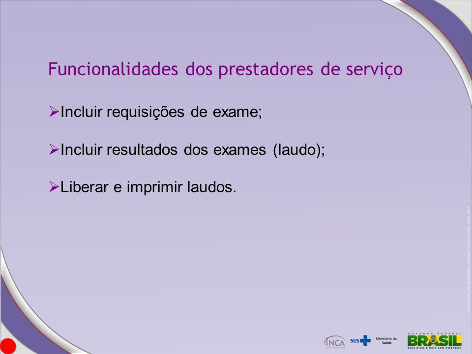 Funcionalidades dos prestadores de serviço