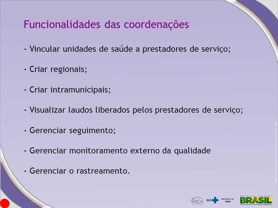 Funcionalidades das coordenações