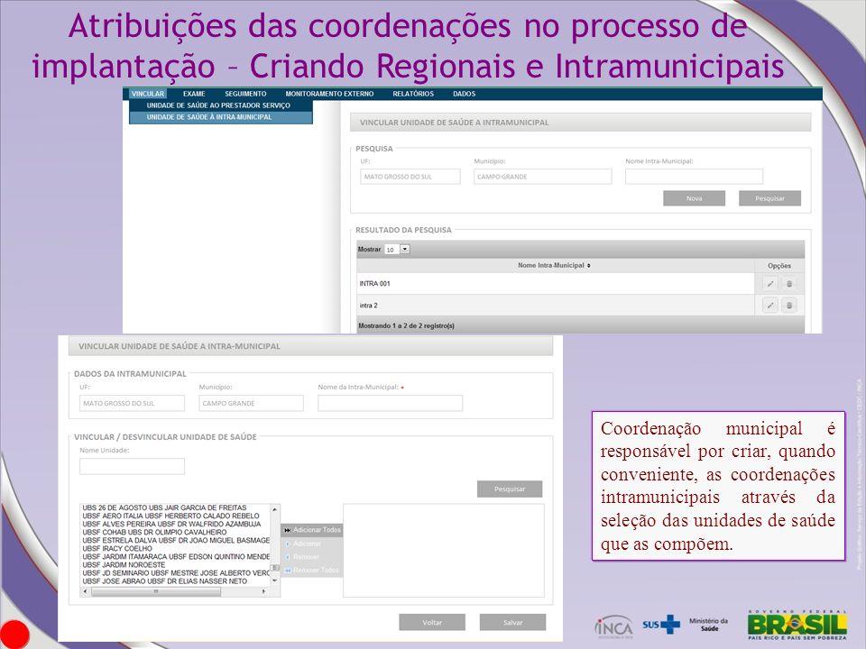 Atribuições das coordenações no processo de implantação – Criando Regionais e Intramunicipais