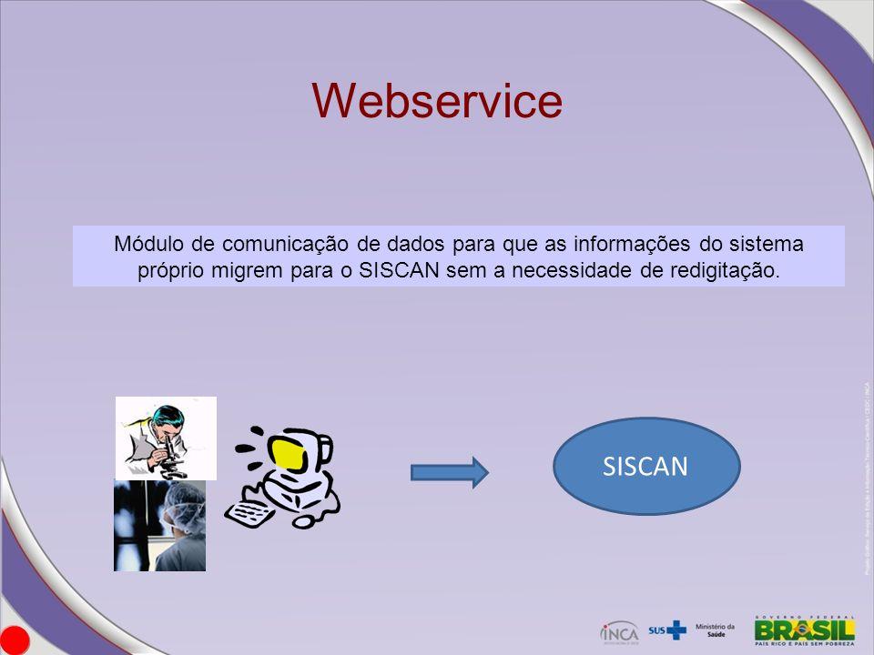 Webservice Módulo de comunicação de dados para que as informações do sistema próprio migrem para o SISCAN sem a necessidade de redigitação.