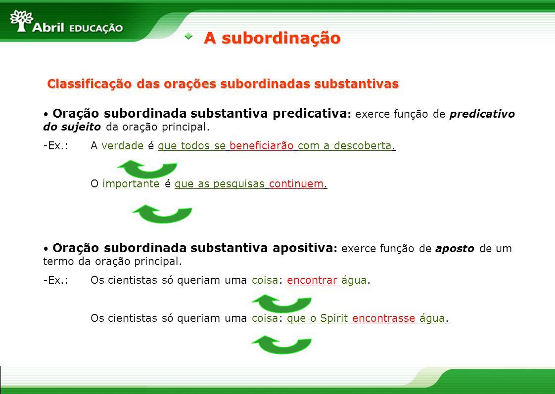 A subordinação Classificação das orações subordinadas substantivas