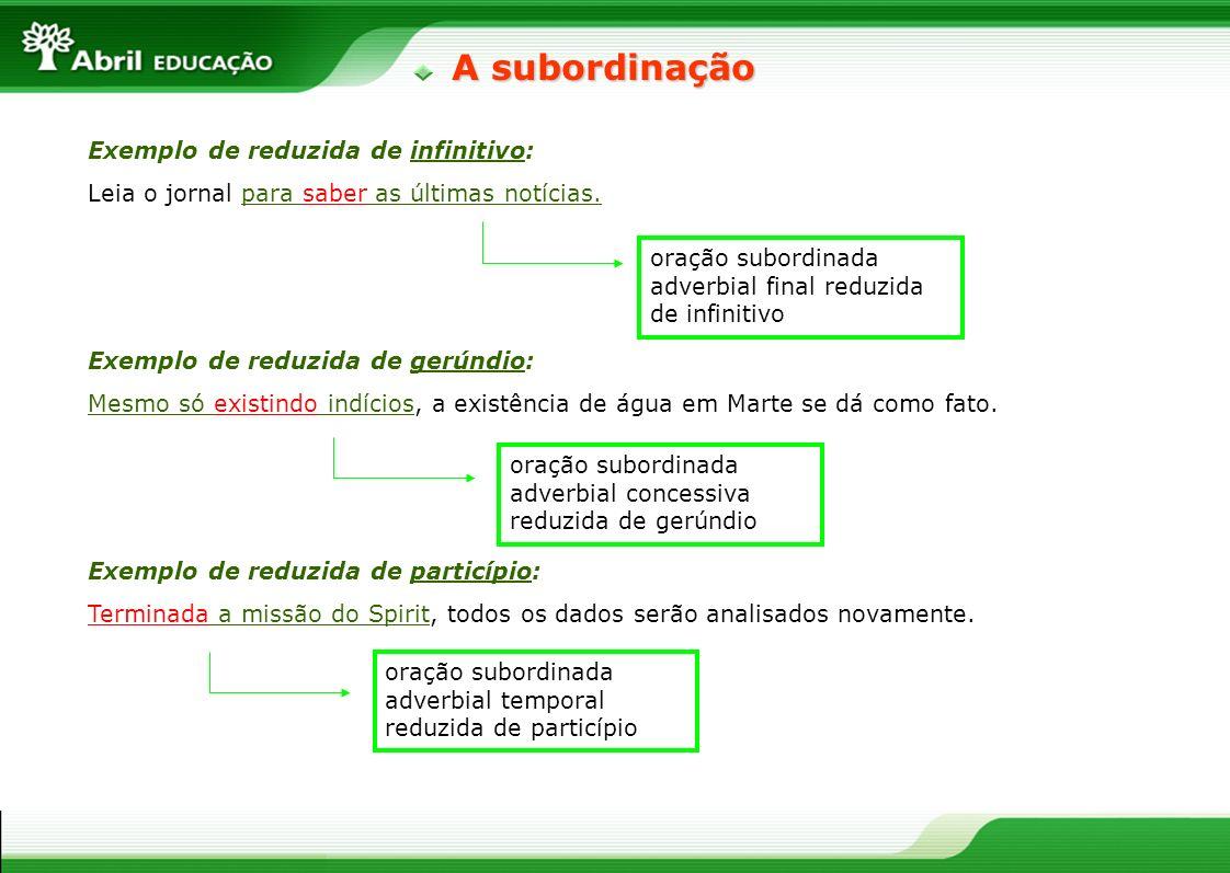 A subordinação Exemplo de reduzida de infinitivo: