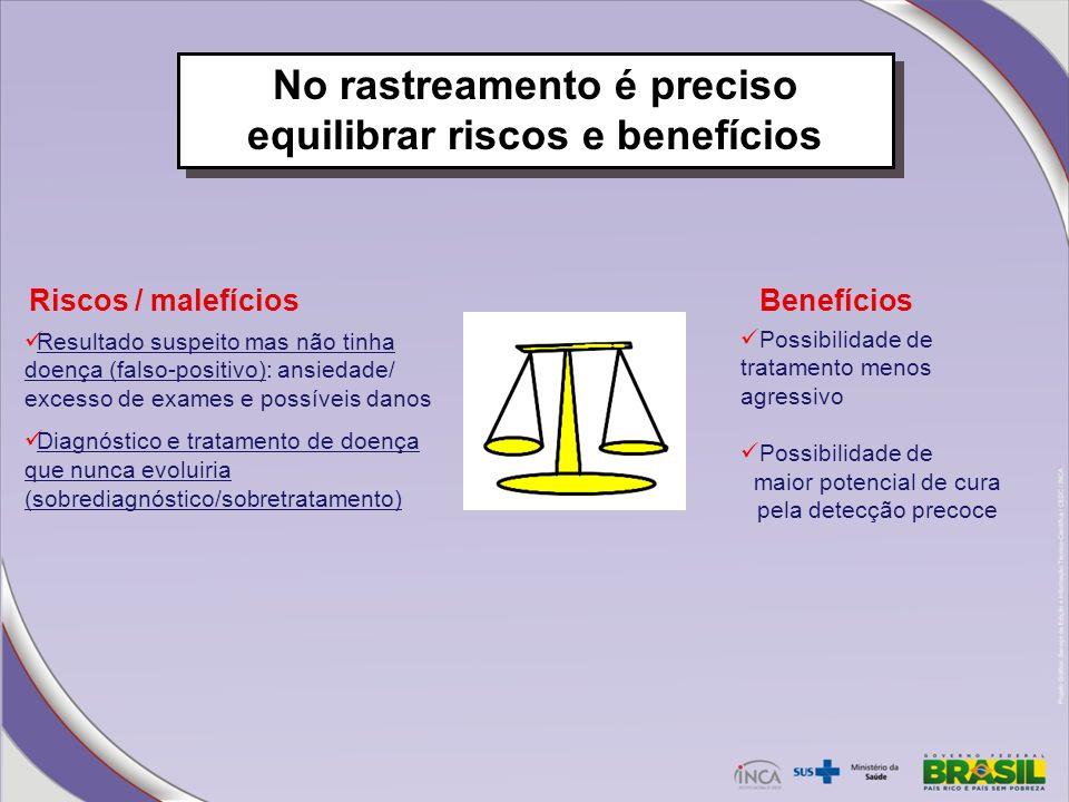 No rastreamento é preciso equilibrar riscos e benefícios