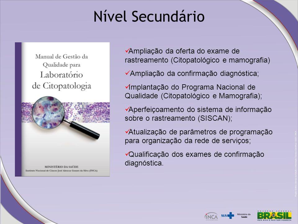Nível Secundário Ampliação da oferta do exame de rastreamento (Citopatológico e mamografia) Ampliação da confirmação diagnóstica;