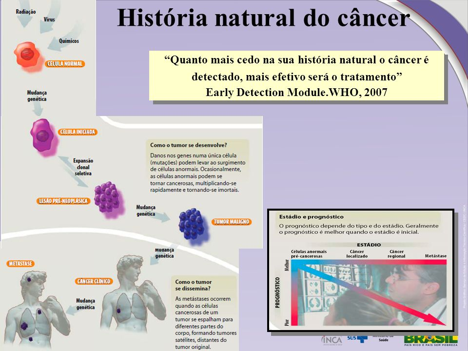 História natural do câncer Early Detection Module.WHO, 2007
