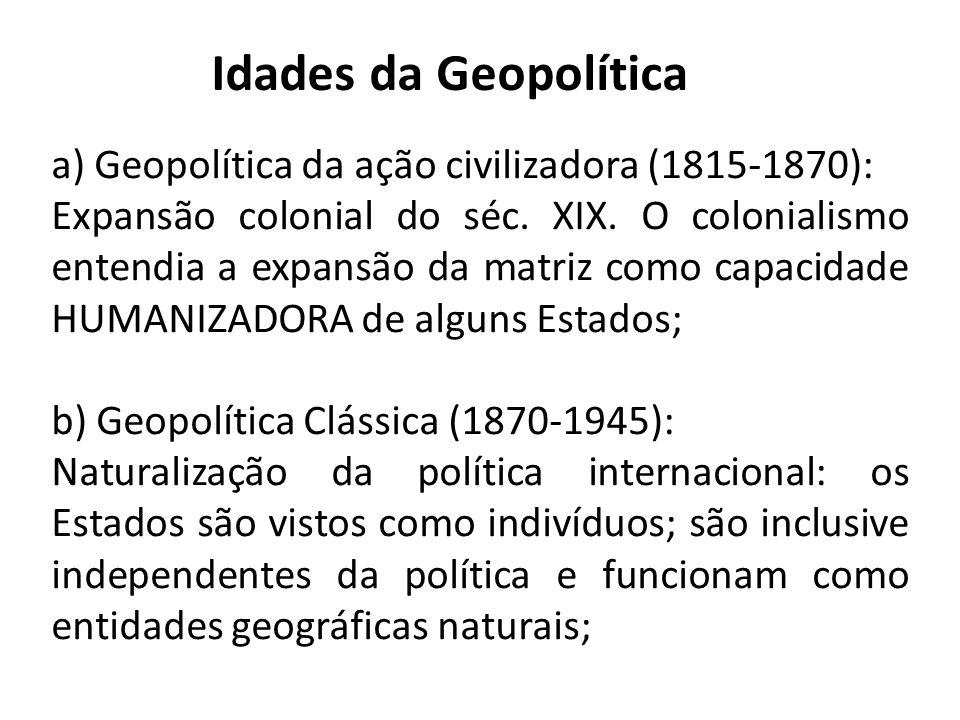 Idades da Geopolítica a) Geopolítica da ação civilizadora (1815-1870):