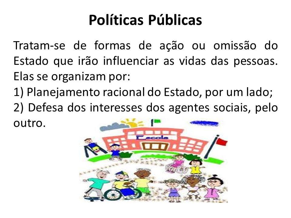 Políticas PúblicasTratam-se de formas de ação ou omissão do Estado que irão influenciar as vidas das pessoas. Elas se organizam por:
