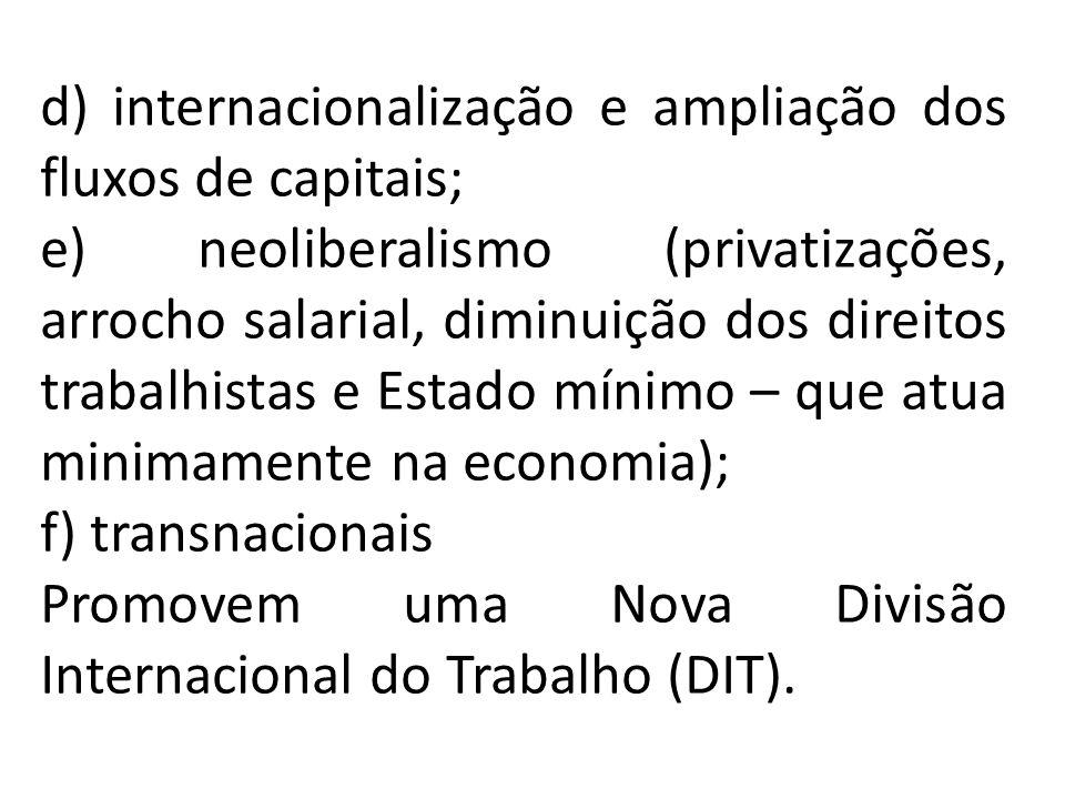 d) internacionalização e ampliação dos fluxos de capitais;