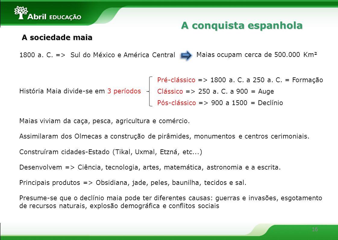 A conquista espanhola A sociedade maia