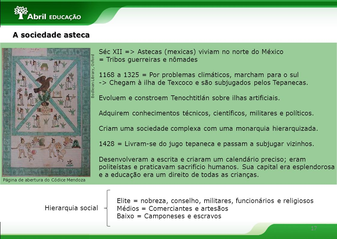 A sociedade asteca Séc XII => Astecas (mexicas) viviam no norte do México. = Tribos guerreiras e nômades.