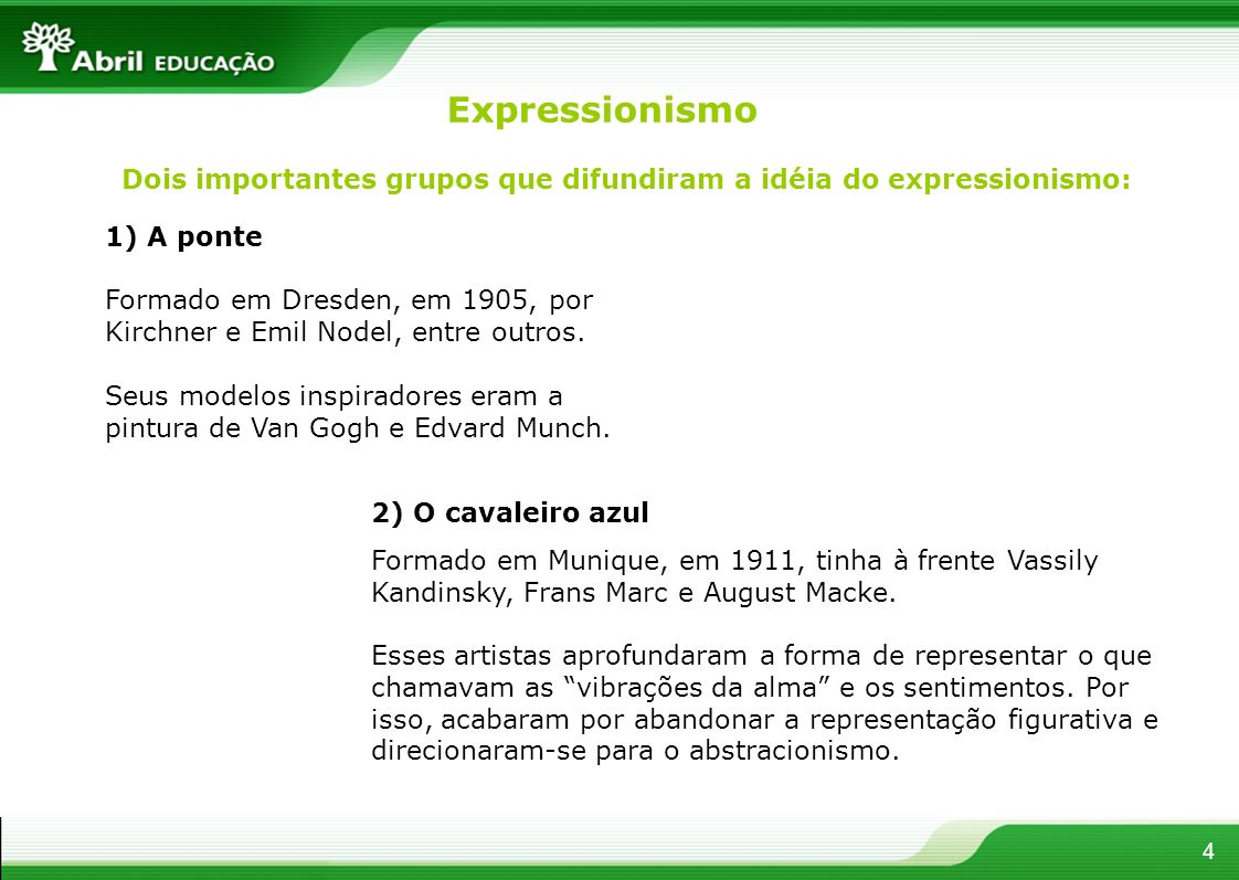 ExpressionismoDois importantes grupos que difundiram a idéia do expressionismo: 1) A ponte.