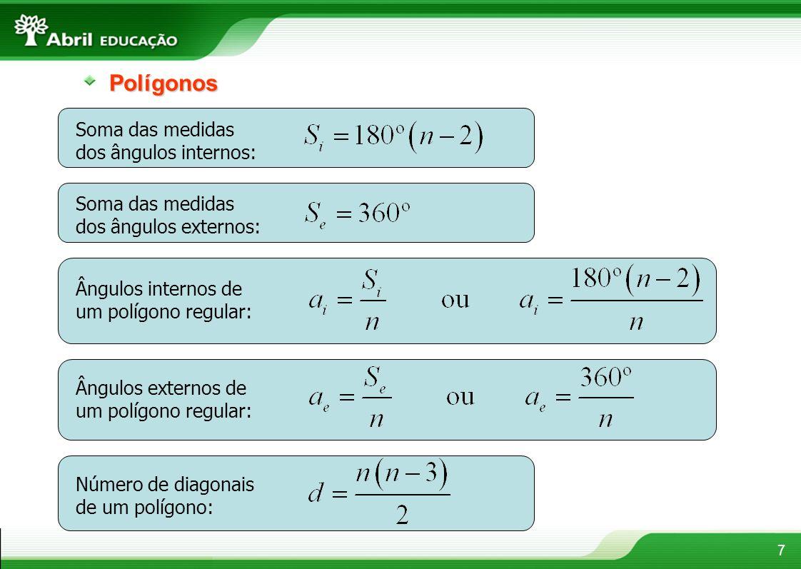 Polígonos Soma das medidas dos ângulos internos: