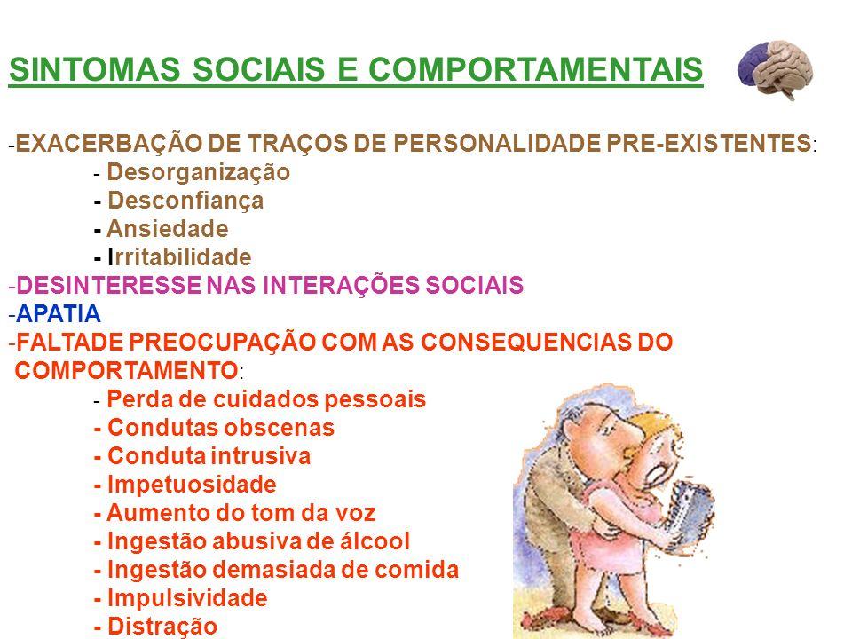 SINTOMAS SOCIAIS E COMPORTAMENTAIS