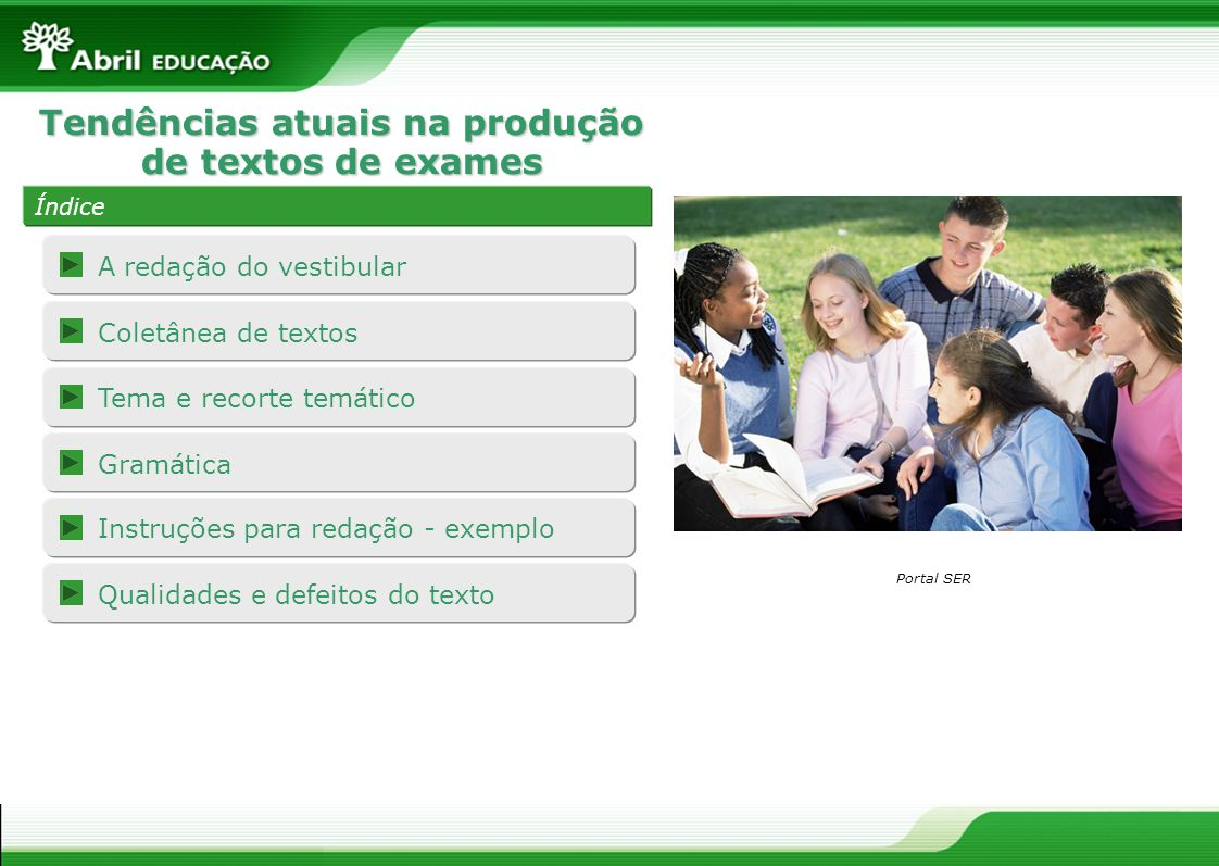 Tendências atuais na produção de textos de exames