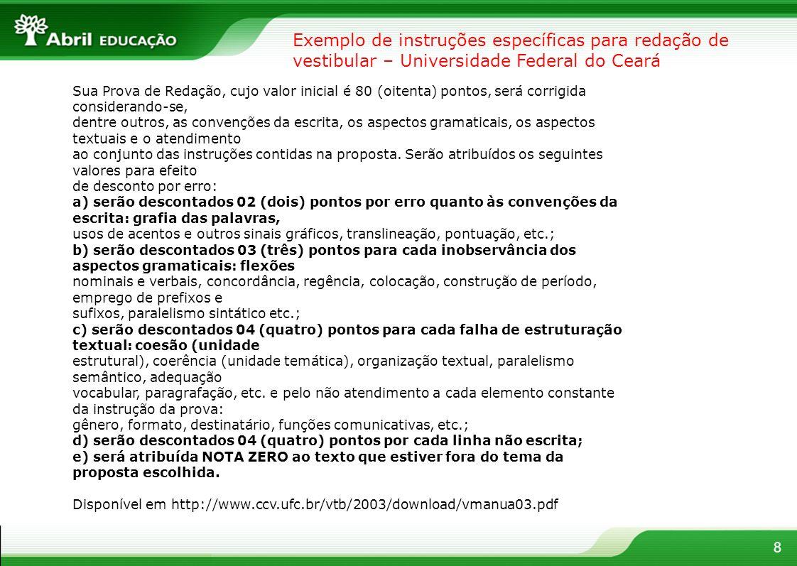 Exemplo de instruções específicas para redação de vestibular – Universidade Federal do Ceará