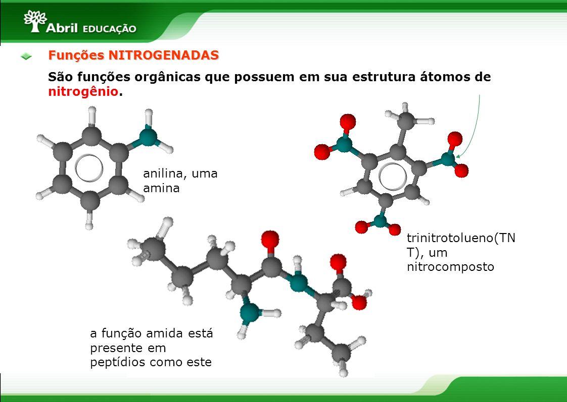 Funções NITROGENADASSão funções orgânicas que possuem em sua estrutura átomos de nitrogênio. anilina, uma amina.