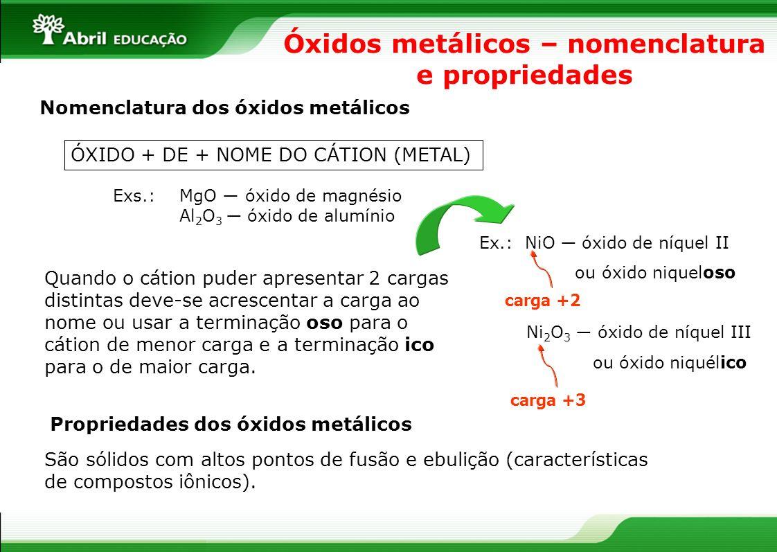 Óxidos metálicos – nomenclatura e propriedades