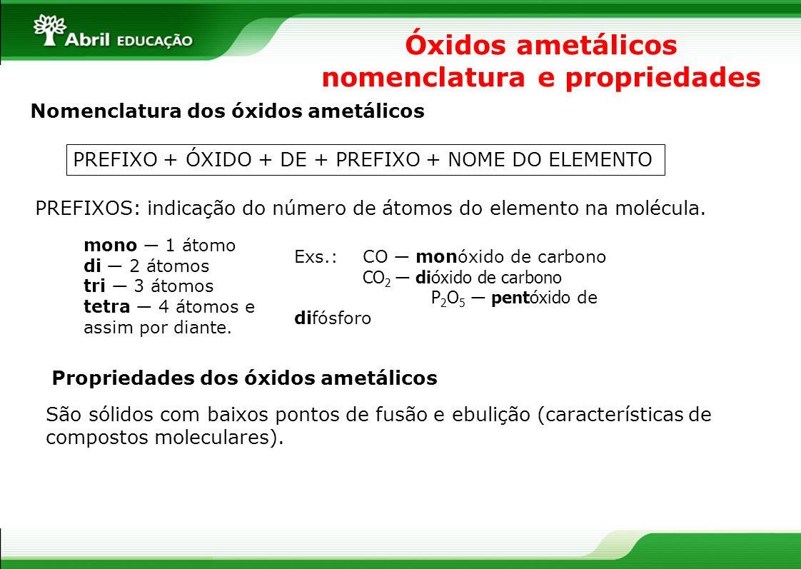 Óxidos ametálicos nomenclatura e propriedades