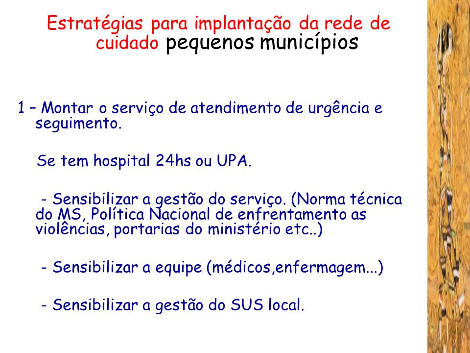 Estratégias para implantação da rede de cuidado pequenos municípios
