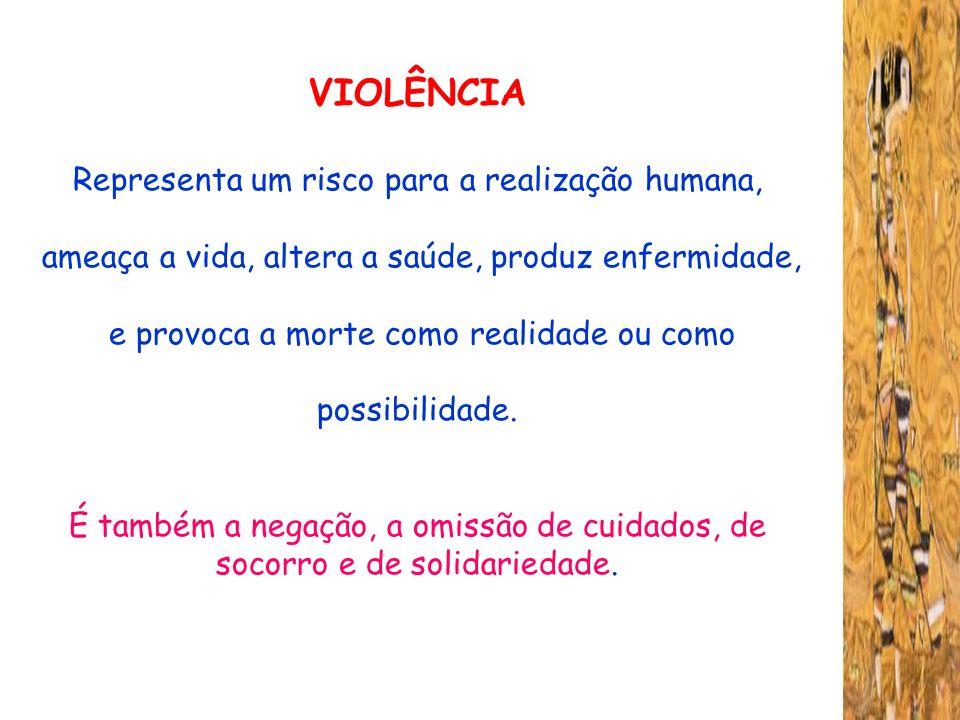 VIOLÊNCIA Representa um risco para a realização humana,