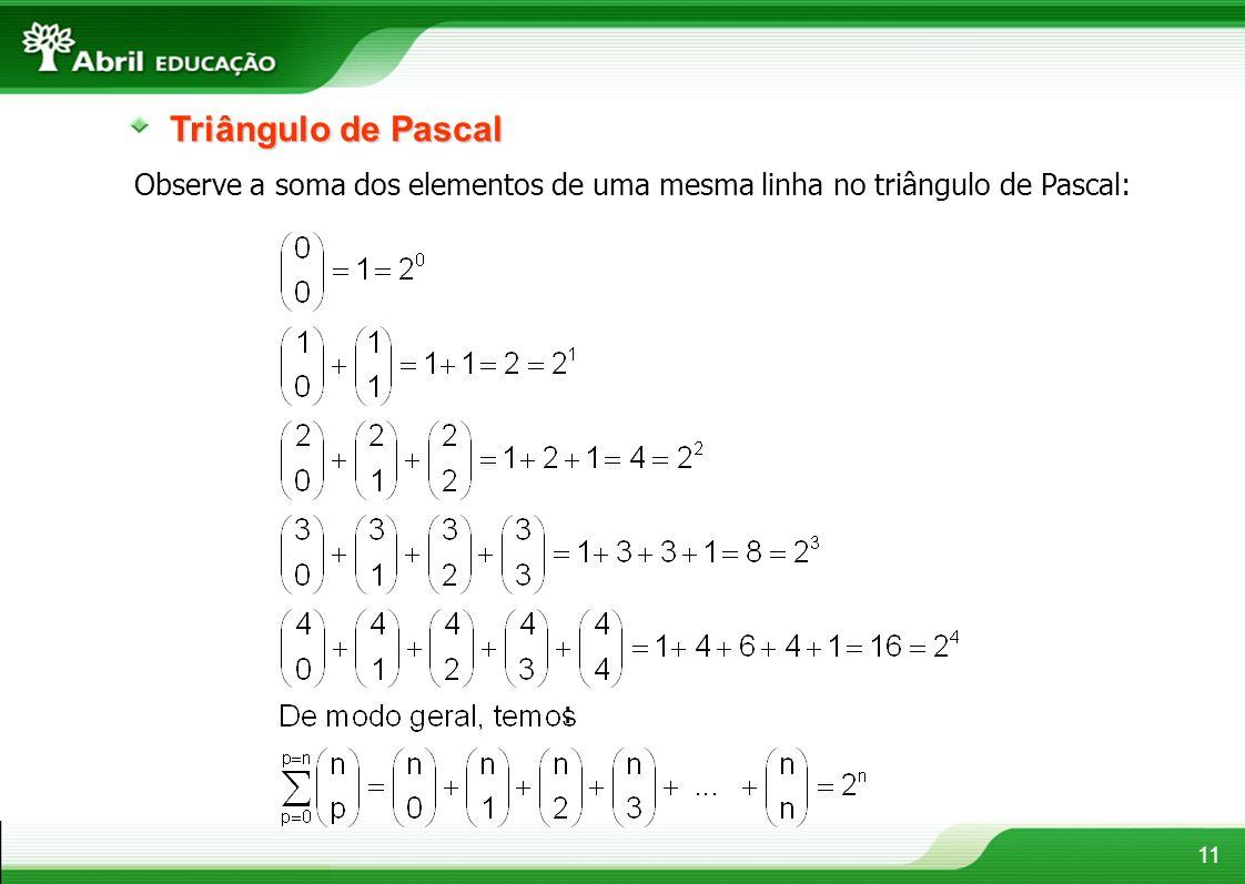 Triângulo de Pascal Observe a soma dos elementos de uma mesma linha no triângulo de Pascal: :