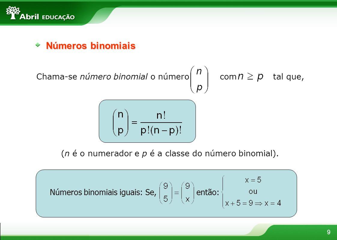 Números binomiais Chama-se número binomial o número com tal que,