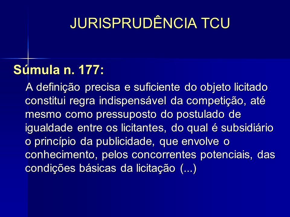 JURISPRUDÊNCIA TCU Súmula n. 177: