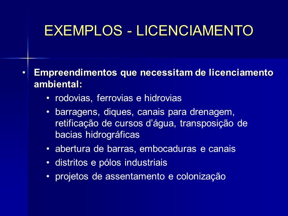 EXEMPLOS - LICENCIAMENTO
