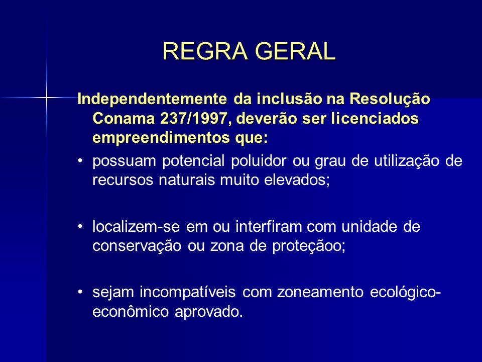 REGRA GERAL Independentemente da inclusão na Resolução Conama 237/1997, deverão ser licenciados empreendimentos que:
