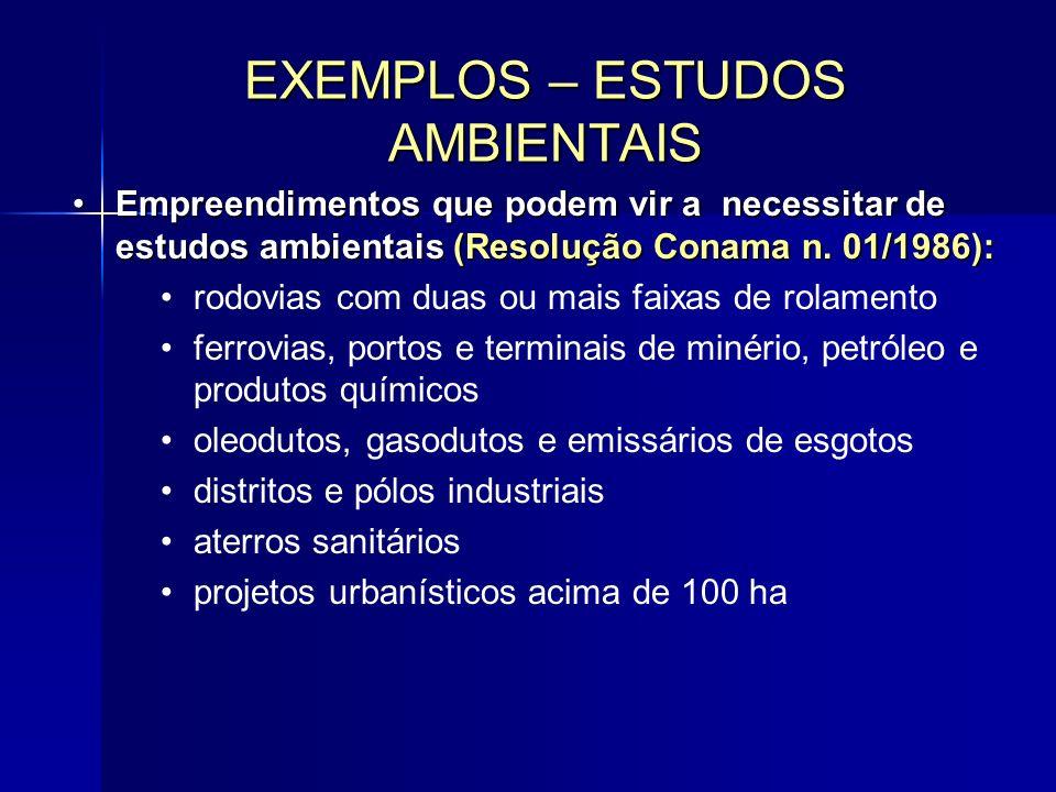 EXEMPLOS – ESTUDOS AMBIENTAIS