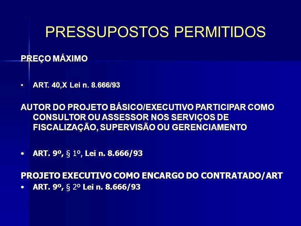 PRESSUPOSTOS PERMITIDOS