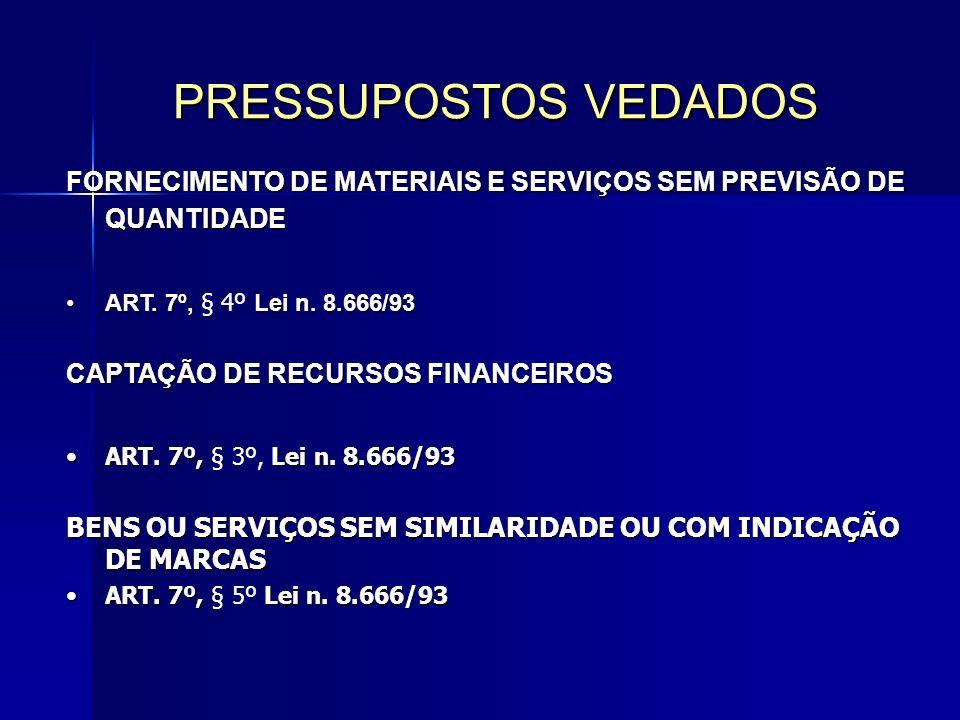 PRESSUPOSTOS VEDADOS FORNECIMENTO DE MATERIAIS E SERVIÇOS SEM PREVISÃO DE QUANTIDADE. ART. 7º, § 4º Lei n. 8.666/93.