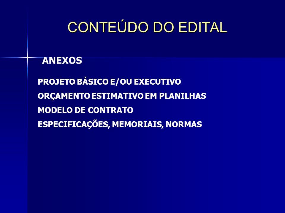 CONTEÚDO DO EDITAL ANEXOS PROJETO BÁSICO E/OU EXECUTIVO