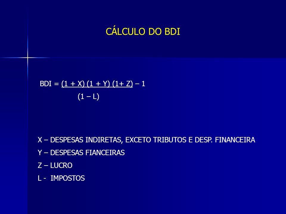 CÁLCULO DO BDI BDI = (1 + X) (1 + Y) (1+ Z) – 1 (1 – L)