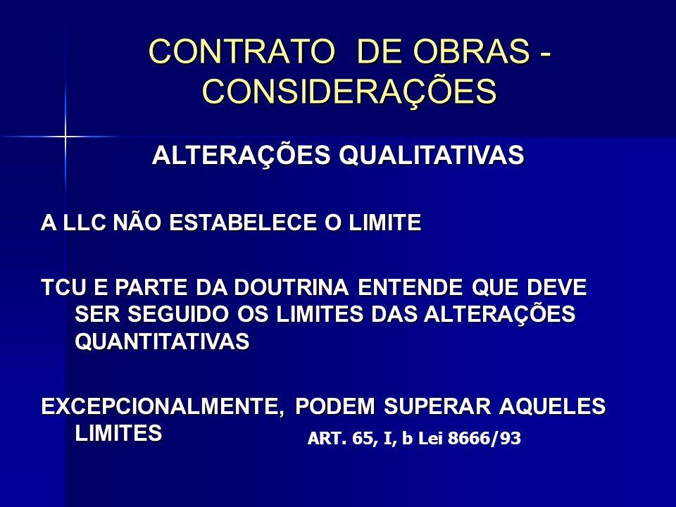CONTRATO DE OBRAS - CONSIDERAÇÕES