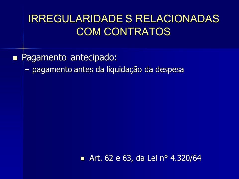 IRREGULARIDADE S RELACIONADAS COM CONTRATOS