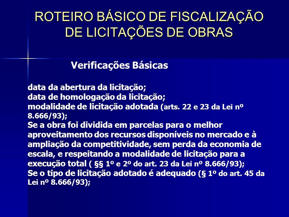 ROTEIRO BÁSICO DE FISCALIZAÇÃO DE LICITAÇÕES DE OBRAS