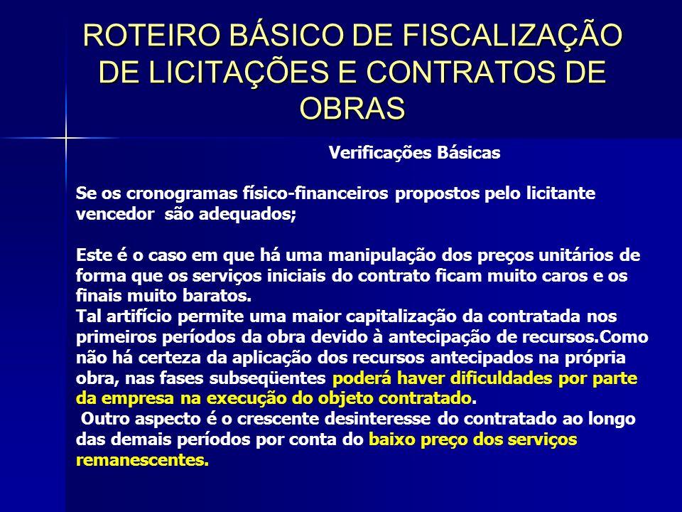 ROTEIRO BÁSICO DE FISCALIZAÇÃO DE LICITAÇÕES E CONTRATOS DE OBRAS