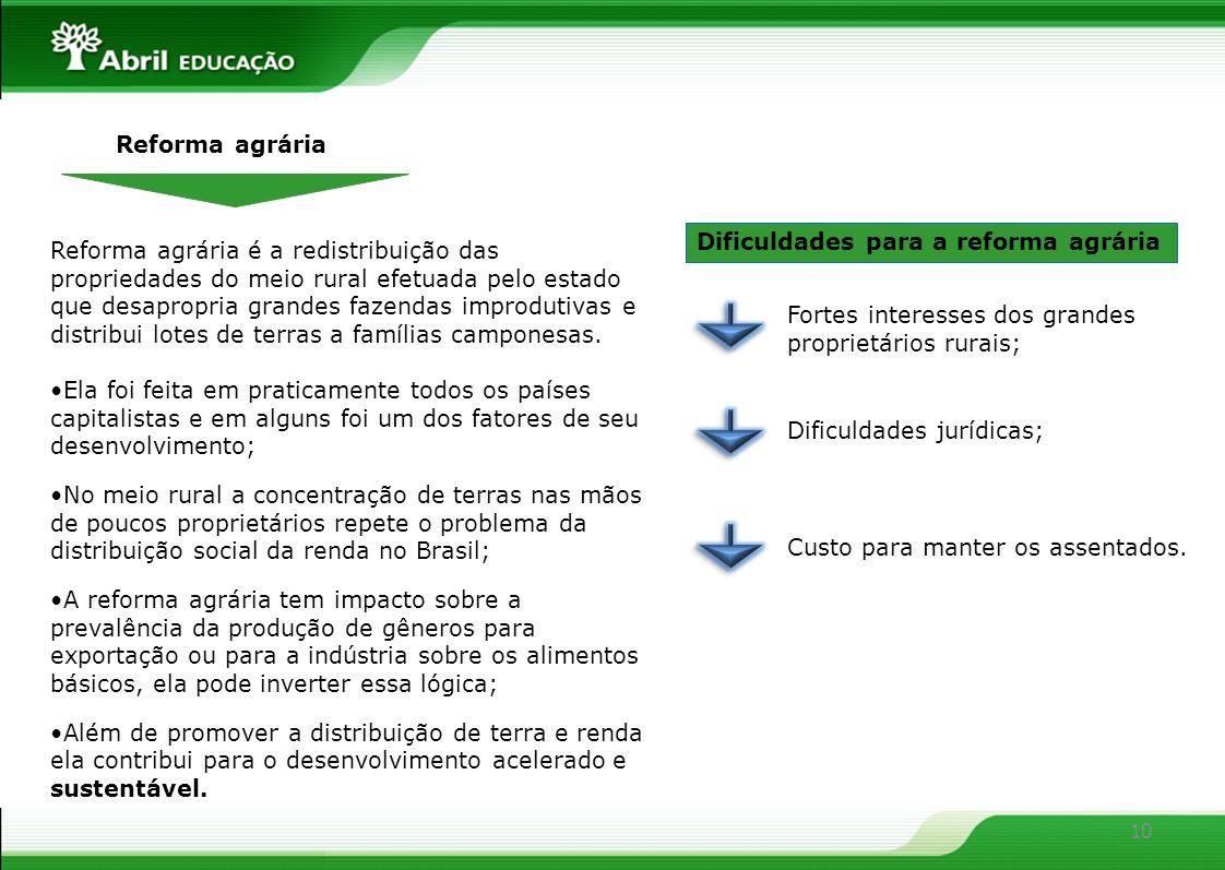 Reforma agráriaDificuldades para a reforma agrária.