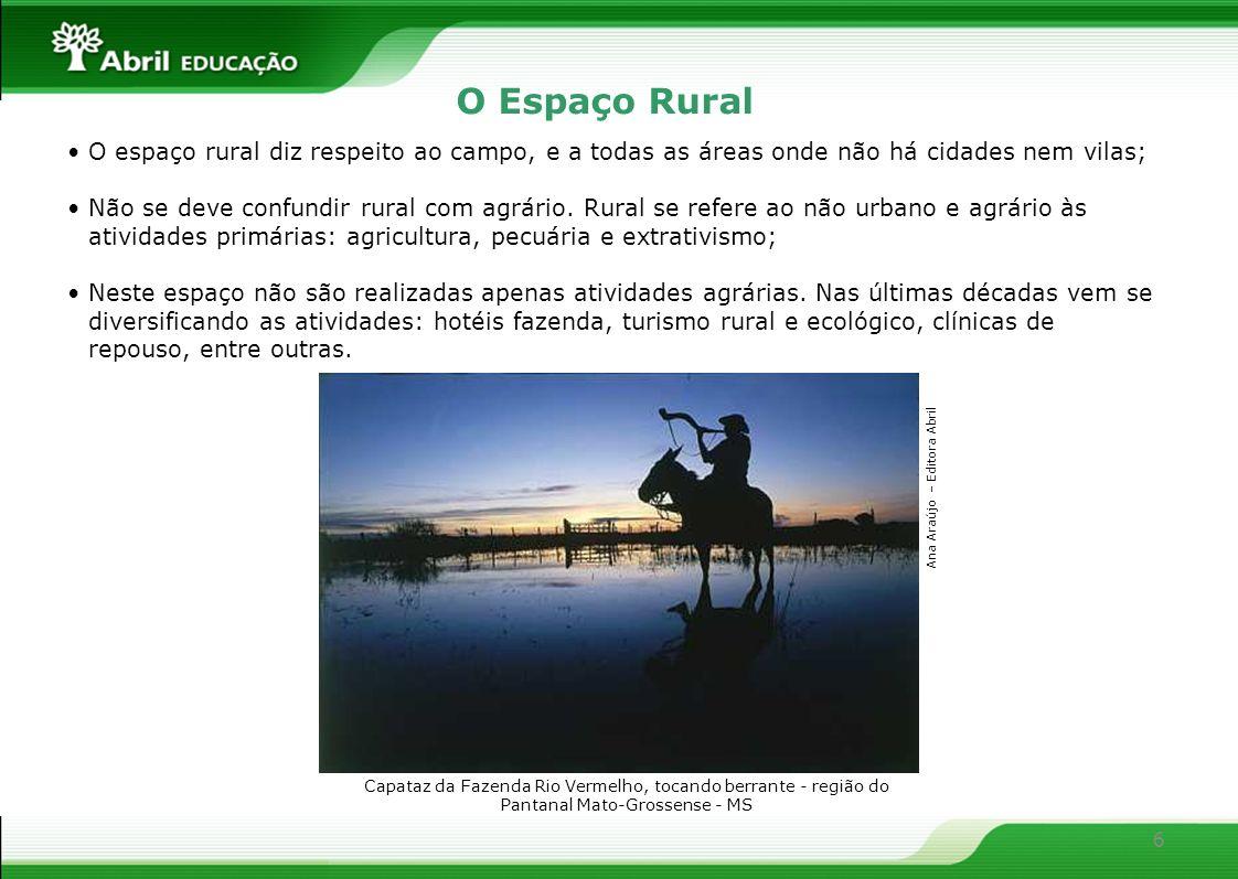 O Espaço RuralO espaço rural diz respeito ao campo, e a todas as áreas onde não há cidades nem vilas;