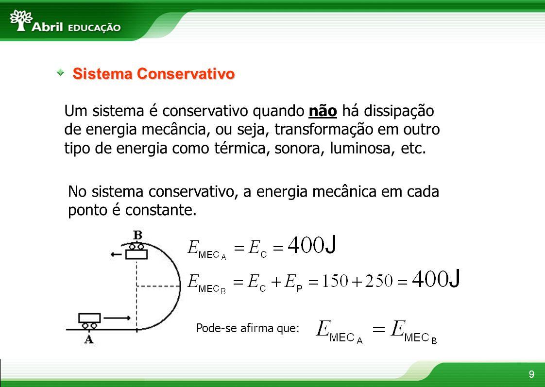 No sistema conservativo, a energia mecânica em cada ponto é constante.