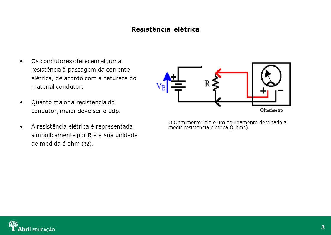 Resistência elétrica Os condutores oferecem alguma resistência à passagem da corrente elétrica, de acordo com a natureza do material condutor.