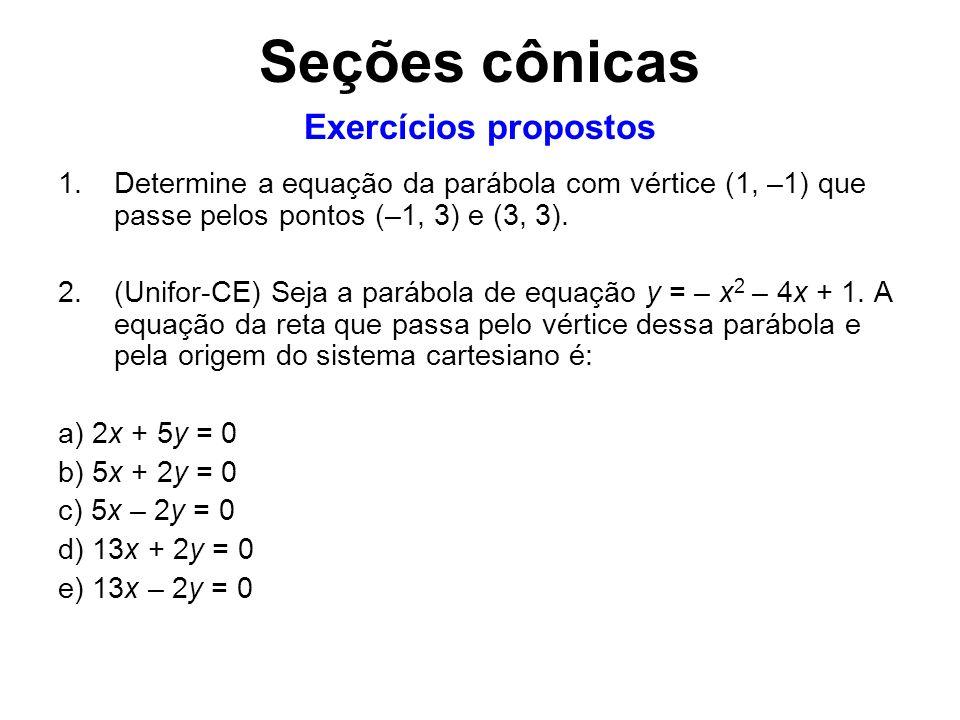 Seções cônicas Exercícios propostos