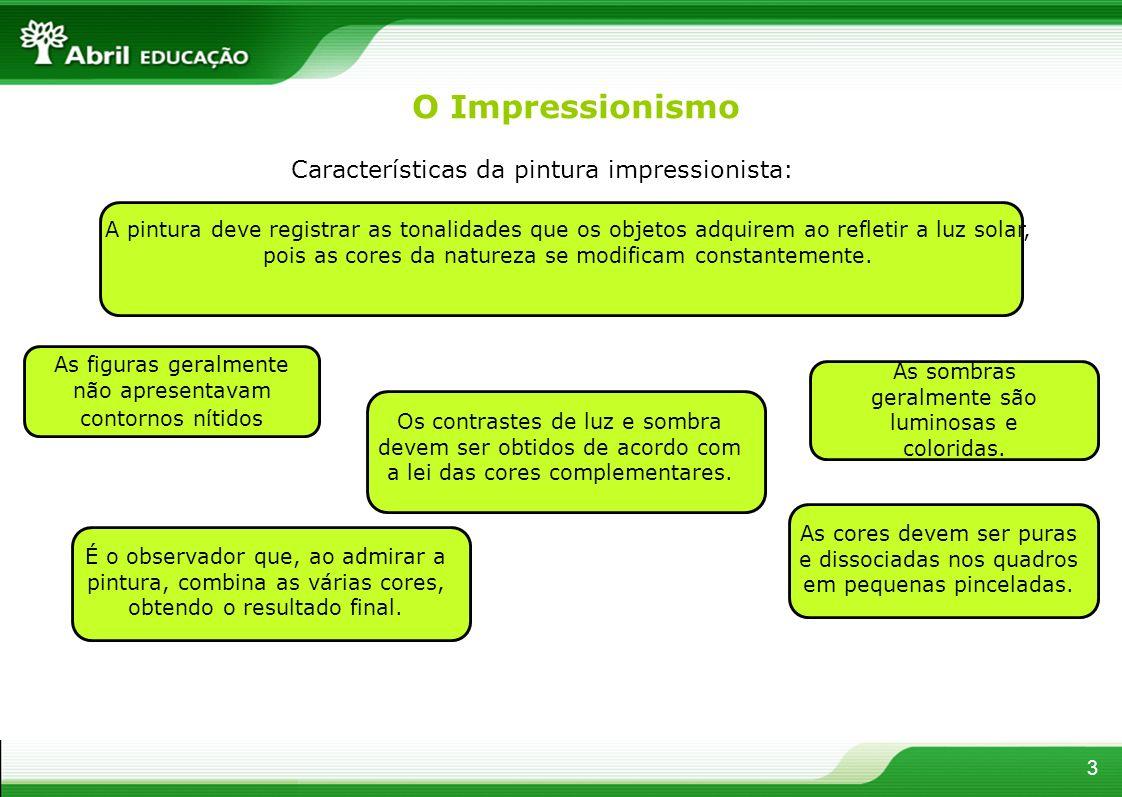 O Impressionismo Características da pintura impressionista: