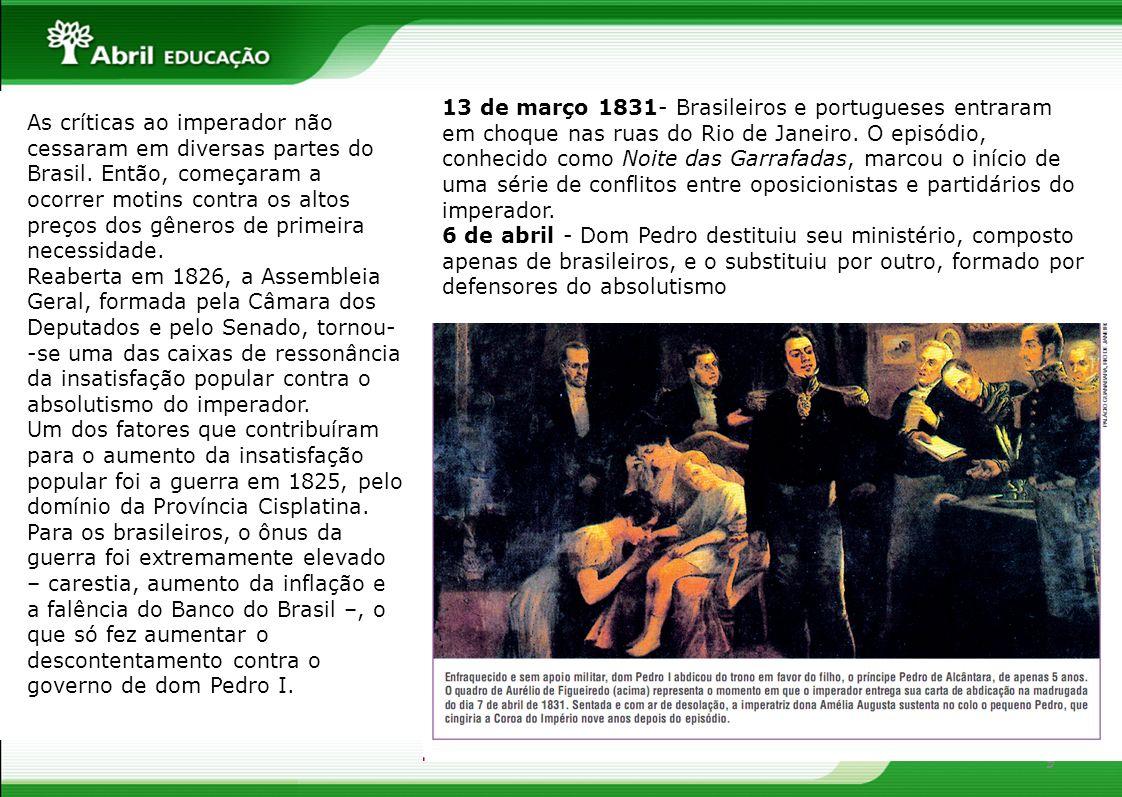 13 de março 1831- Brasileiros e portugueses entraram em choque nas ruas do Rio de Janeiro. O episódio, conhecido como Noite das Garrafadas, marcou o início de uma série de conflitos entre oposicionistas e partidários do imperador.