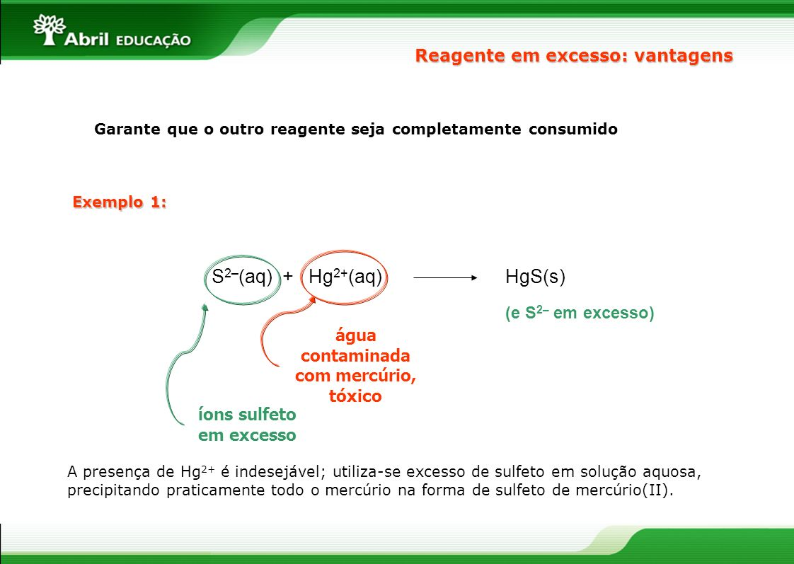 S2–(aq) + Hg2+(aq) HgS(s) Reagente em excesso: vantagens