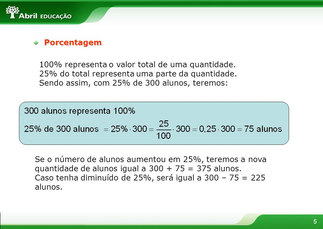 Porcentagem 100% representa o valor total de uma quantidade. 25% do total representa uma parte da quantidade.