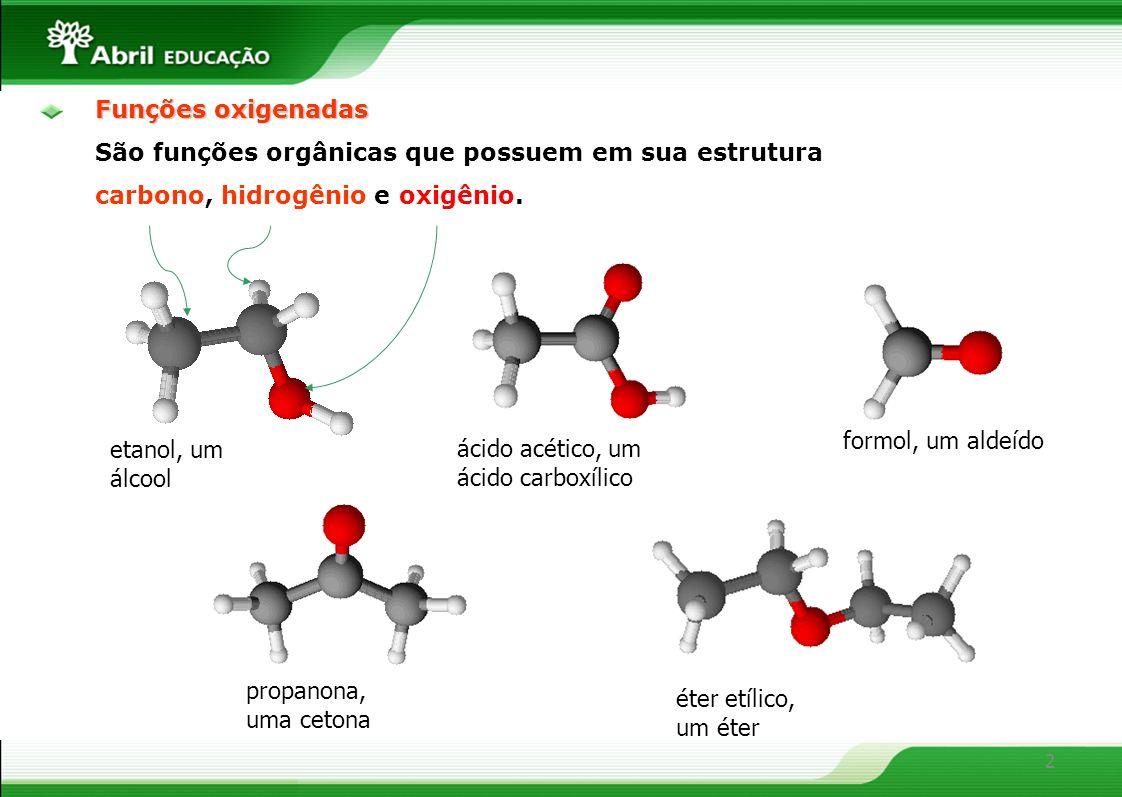 Funções oxigenadas São funções orgânicas que possuem em sua estrutura. carbono, hidrogênio e oxigênio.